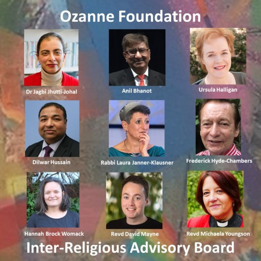 Photos of all nine members of Inter-Relgious Advisory Board against a rainbow background, image created by Ozanne Foundation
